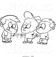 vector cartoon group boys playing rock paper scissors