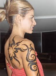 tribal sun tattoos on back body for girls real photo pictures
