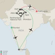 Agra India Map by Southern India U0026 Nepal Tour Globus Escorted Tours