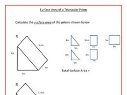surface area of triangular prisms by ra77 teaching resources tes