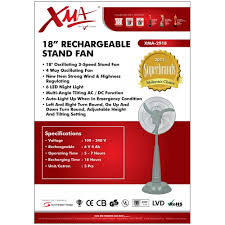stand up ac fan xma 2918rc rechargeable 18 stand fan