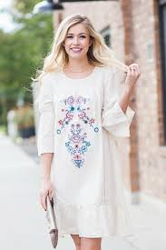 embroidered dress in cream my sister u0027s closet boutique