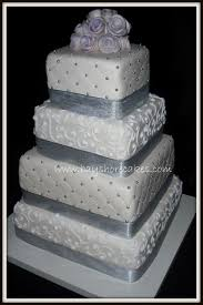 one stop wedding square wedding cakes with ribbon