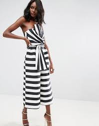 asos white jumpsuit asos asos jumpsuit in structured stripe with knot and drape detail