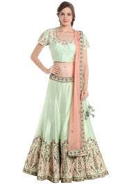 pista green and pink lehenga choli with resham and zardosi