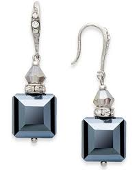 concepts earrings inc international concepts earrings silver tone jet square bead