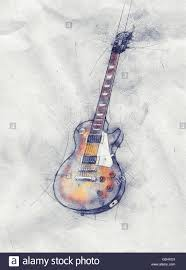 colored pencil sketch of a guitar on crumpled grungy textured