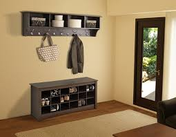 Shoe Home Decor Decor Grey Wood Shoe Storage Bench With Wall Mounted Storage Coat