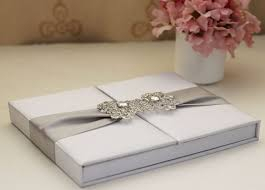 wedding invitations box luxurious white silk foliogate wedding invitations box hot sale on