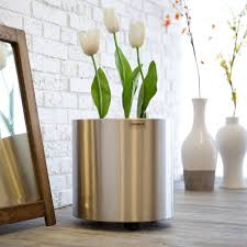 modern balcony planters have to have it round brushed stainless steel burgdorf planter