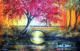 bridges autumn bridge colorful paintings fall seasons bridges