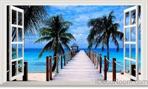 palm tree home decor palm tree beach tropical ocean pier 3d window view removable wall
