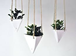 White Hanging Planter by Trending Hanging Triangular Geo Planter White For Succulents