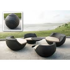 5 patio set 5 wicker patio set features rounded modern seat design