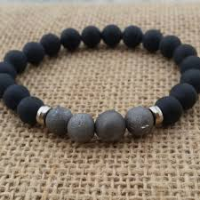 mens bracelet black beads images Drusy metallic silvery geode quartz men bracelet mens beaded jpg