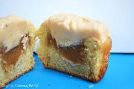peanut caramel cupcakes lights camera bake