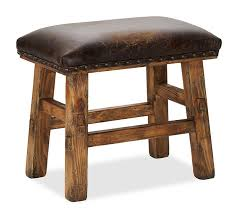 caden leather stool pottery barn