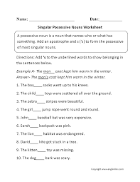 singular possessive nouns worksheets downloads pinterest