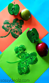 apple shamrock stamp craft for st patrick u0027s day saints apples