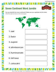 seven continent word jumble u2013 3rd grade free science worksheet
