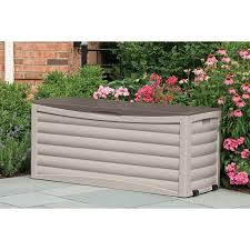 keter brightwood resin 120 gallon outdoor storage deck hayneedle