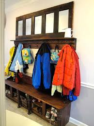 entryway backpack storage mudroom storage bench made from kitchen cabinets hometalk