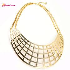 collar bib necklace images Aoloshow gold color chunky choker necklace women mesh pendant jpg
