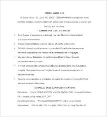 Oracle Dba Resume Sample by Database Administrator Resume Template 15 Free Samples