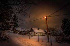 Winter Houses by Wallpaper Croatia Winter Snow Night Time Street Lights Cities Houses