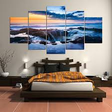 ocean waterfall 5 panel canvas wall art home decor u2013 decal labs