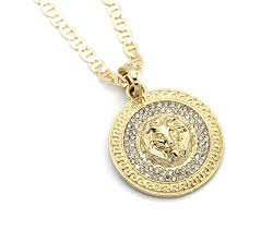 pendant l with chain l l nation mens medallion pattern lion gold tone 24 gucci chain