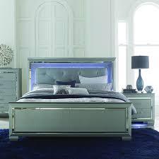 homelegance allura 2 piece panel bedroom set w led lighting in