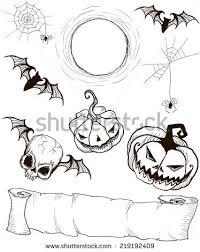 hand painted pumpkin halloween clipart set gothic hand painted halloween items stock vector 219192409