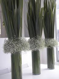 Modern Flower Vase Arrangements Baby U0027s Breath And Flax Leaves In Glass Vases Bold And Unique