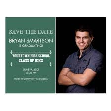 green personalized photo graduation save the date postcard