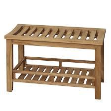Wood Shower Bench Shop Barclay Honey Teak Freestanding Shower Seat At Lowes Com