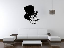 amazon com human skull smoking wall decal sticker 2 decal amazon com human skull smoking wall decal sticker 2 decal stickers and mural for kids boys girls room and bedroom skull with top hat silhouette mural