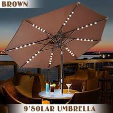 Patio Umbrella Led Lights by 9 Ft Market Patio Fiberglass Umbrella With Crank Lift Tilt