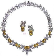 cubic zirconia necklace set images Canary yellow special occasion cubic zirconia necklace set jpg