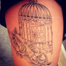 birdcage and flowers tattoo tattoomagz