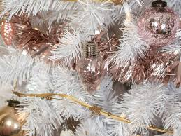 white christmas tree with stylish rose gold and pink decorations