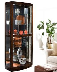 clockway pulaski oxford designer curio cabinet in walnut finish