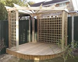 corner pergola with lattice and low deck corner pergolas for the