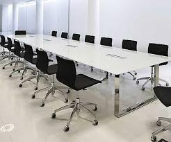 Conference Meeting Table Neolith Calacatta Conference Table Paired With Eames Management
