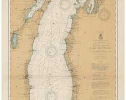 map of michigan lakes great lakes map etsy