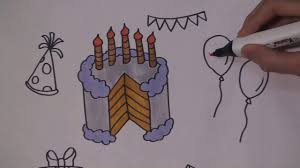how to draw a birthday party set for kids coloring pages cake
