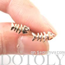store stud earrings dotoly plus small fish bone fishbone animal stud earrings in