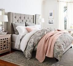 bed headboard harper upholstered tufted tall bed headboard pottery barn