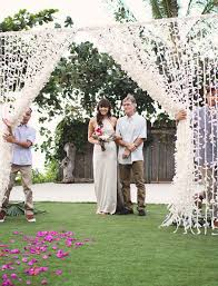 Wedding Entrance Backdrop Bohemian Oahu Wedding Alana Kyle Muslin Fabric Wedding