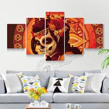 home decor group 5 panel day of the dead face group wall art canvas painting home